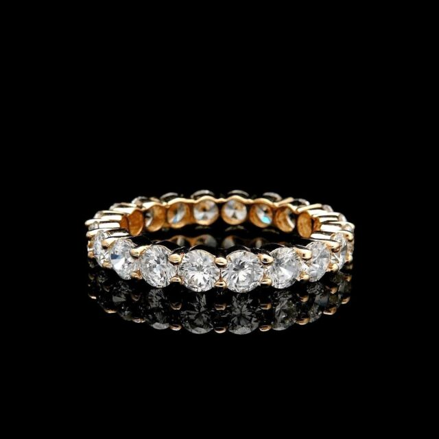 3.00CT BRILLIANT CREATED DIAMOND ETERNITY RING SOLID 14K YELLOW GOLD BAND SIZE 8