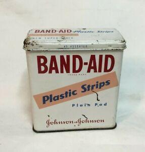 *Vintage Advertising Tin JOHNSON & JOHNSON BAND AID Tin Plastic Strips Plain Pad