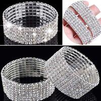 New Sparkly Full Crystal Rhinestone Bracelet Bangle For Women Bride Wedding UK
