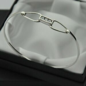 White CZ Set Opening Panel Bangle Bracelet in 925 Sterling Silver
