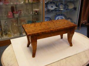 Details About Antique Primitive Furniture Biedermeier Style Stool Footstool Birdseye Maple