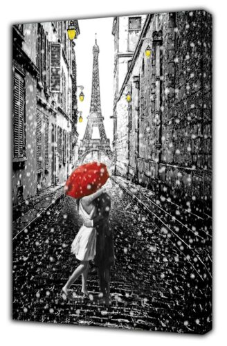 Couple Love In Paris Street Eiffel Tower Snow Picture Print On Framed Canvas Art