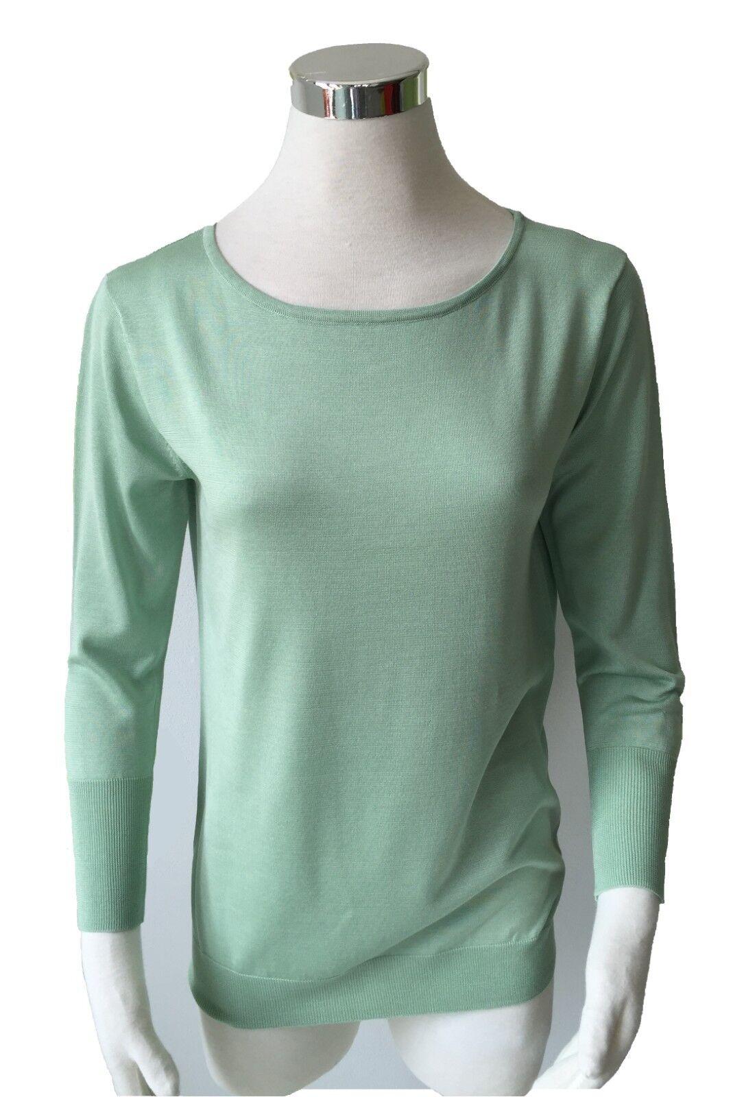 Finemente lavorato a maglia maglione maglione maglione reine Seide tg. 42 Girocollo FB. Lind verde ECRU SVENDITA 900234
