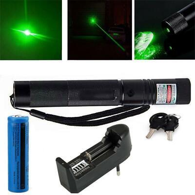 Neuer Starker High Power Laserpointer Grün Akku Lasereffekt Kappe
