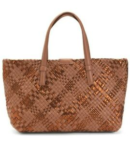 NWT FALOR MADE IN ITALY HAND MADE LEATHER WOVEN LARGE TOTE BAG CUOIO METALLIC