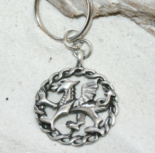 WALES WELSH RED DRAGON Pewter KEYCHAIN Key Chain Ring