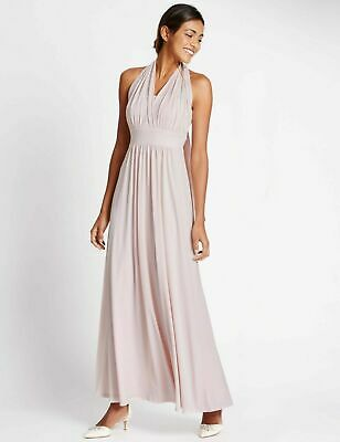 Analitico Bnwt Rrp £ 49 M&s Marks And Spencer Blush Rosa Multipos. Maxi Abito Damigella D'onore 12-