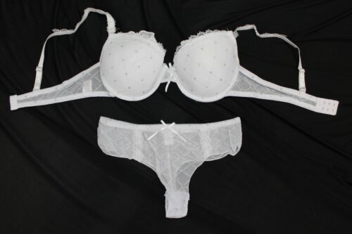 0768 Dessous BH Set Glitzerpunkte String Cup B 65 70 75 80 85 Weiß