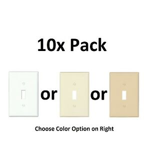 10x Pc White Almond Ivory Beige Single Electrical Light Switch Wall