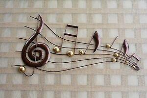 Music Notes Theme Large Metal Wall Art Plaque Copper Colour