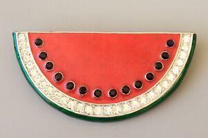 Vtg-watermelon-slice-brooch-pendant-in-enamel-on-silver-tone-metal-with-crystal