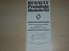 61742) Renault R 4 5 18 Fuego Alpine A 310 Preise & Extras Prospekt 02/1982