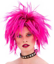 80er Jahre Strubbel Rocker Perücke pink NEU - Karneval Fasching Perücke Haare