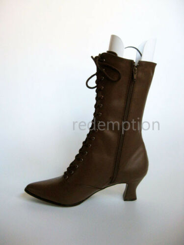 "2.75/"" Brown Pointy Victorian Steampunk Western Witch Granny Goth Calf Boots 6-12"