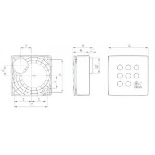 Aspiratore centrifugo da Muro Vortice VORT QUADRO MICRO 100 T HCS