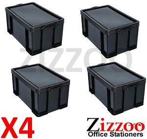 4 X 64l Really Useful Recycled Plastic Stackable Storage Boxes Black