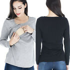 Maternity Clothes Breastfeeding Tops Nursing Top Long Sleeve Women T-shirt Black