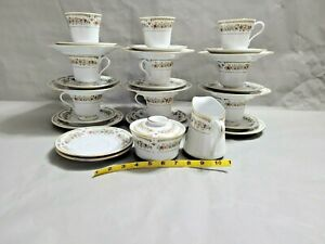 LiLing-Yung-Shen-Fine-China-9-Set-of-Tea-Cup-Saucer-amp-Plates-amp-Creamer-Sugar-Bowl