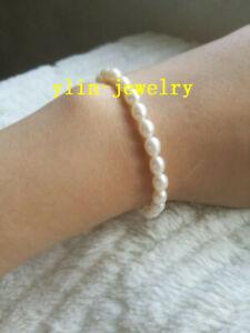 Charming-AAA-5-6mm-white-natural-akoya-white-Pearl-Bracelet-7-5-8-039-14k-Clasp