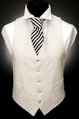 W - 539 IVORY RELIEF FLORAL AND LEAF TRADITIONAL FORMAL WEDDING WAISTCOAT