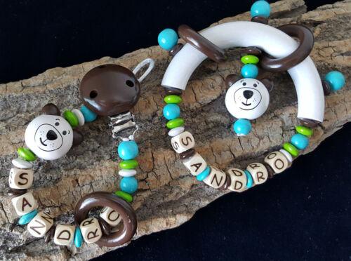 Schnullerkette mit Wunsch-Namen und Greifring im Set Bär Minigreifring Junge
