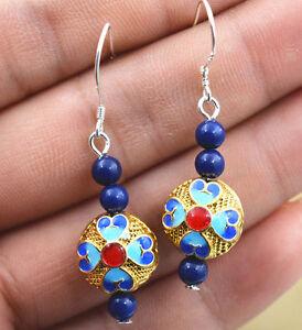 Fashion With 4 Mm Lapis Lazuli Cloisonne Enamel Jewelry Earrings