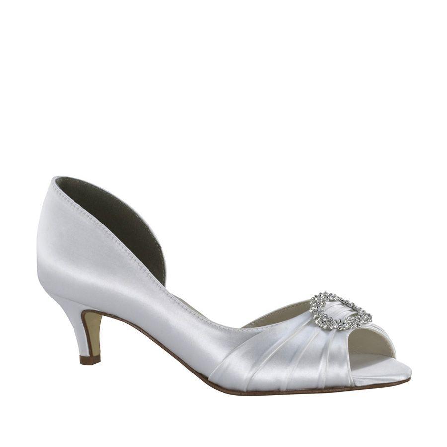 Damens's Touch Ups Kennedy Low Heel Peep Toe WEISS Größe 10 #NCGTF-M44