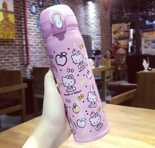 Cute For Hello Kitty Stainless Steel Vacuum Warm Travel Mug Tea Cup 500ml PINK