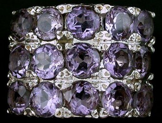 Amethyst Round  Gem Stone Gemstone Sterling Ring Size 7 PSR240