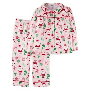 a78f429691 Details about Carter s Baby Girls  Pink Christmas Santa 2 Piece Fleece  Pajamas Outfit Set