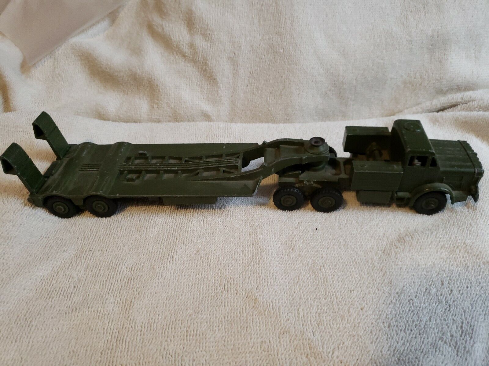 Collectible Dinky Toy MILITARY TANK TRANSPORTER  With Driver Inside.