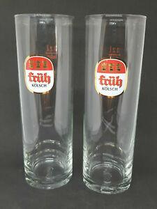 2 Fruh Kolsch German Chopes Beer Glasses Verres 0.2 Litre Slim avec Logo RARE!
