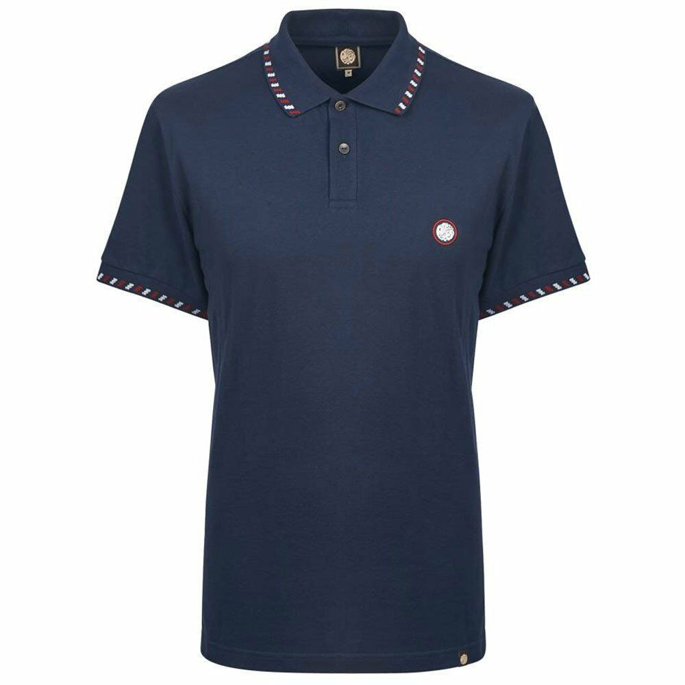 Pretty Green SS Elmwood  Polo T Shirt Navy  White Red Liam Gallagher oasis