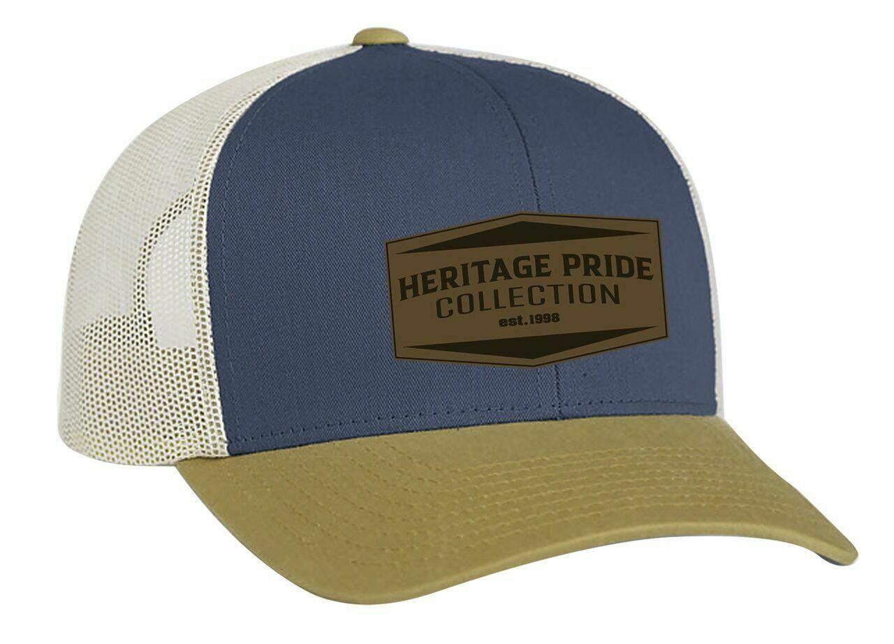 Heritage Pride Est. 1998 Leder Patch Trucker Snapback Hat-Ocean Blau / Amber Gol