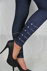 Leggings-Jeans-Strass-Jeanslook-Leggins-Sexy-Schwarz-Stretch-Jeggings-Slim-Blau