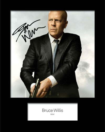 Reprint 10x8 Mounted Photo Print FREE DELIVERY BRUCE WILLIS #1 Signed