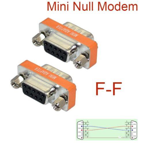New High Quality Mini Null Modem DB9 Female Male plug Adapter Gender Changer GM