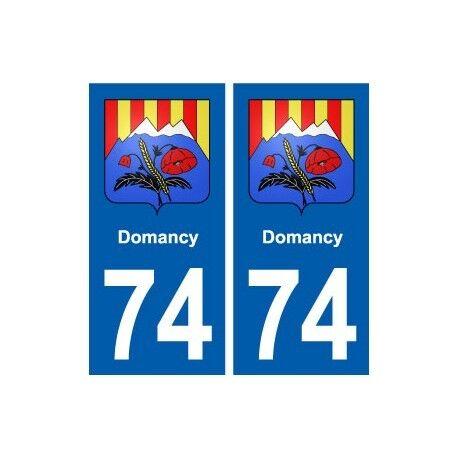 74 Domancy blason autocollant plaque stickers ville -  Angles : droits