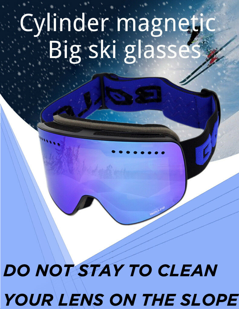 BOLLFO Magnetic Ski Goggles Double Lens UV400 Anti-fog Ski Goggles Men Women