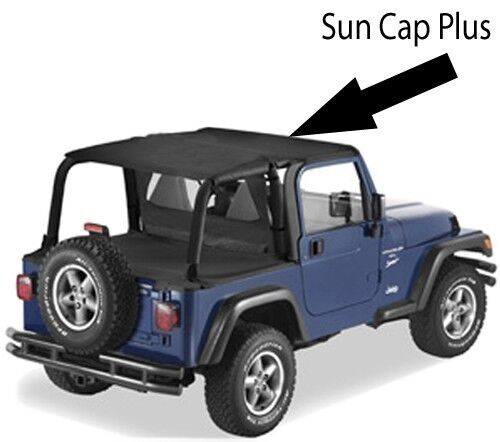 Pavement Ends Sun Cap Plus Protection 97-02 Jeep Wrangler TJ Black Denim
