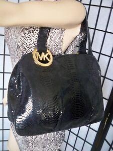 accf13f24186d5 Image is loading MICHAEL-KORS-Large-Black-Snakeskin-Leather-Shoulder-Bag-