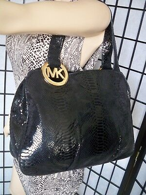 cc063a4252563 Details about MICHAEL KORS Large Black Snakeskin Leather Shoulder Bag Tote  CHIC!