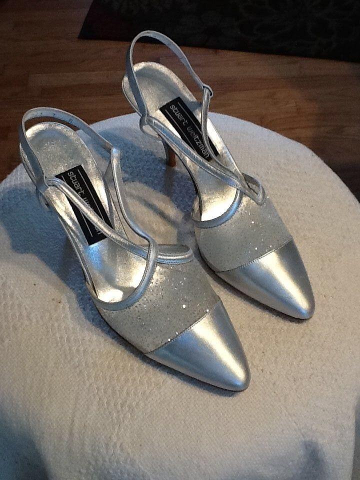 Stuart Weitzman closed toe, sparkle Mesh High Heels Sandals, Silver 7B