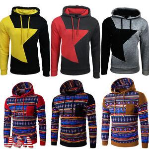 USA Men's Winter Slim Hoodie Warm Hooded Sweatshirt Coat Jacket Outwear Sweater