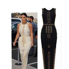 Ladies Celeb White/Black Gold Stud Rayon Red Carpet/Party/Cocktail Bandage Dress