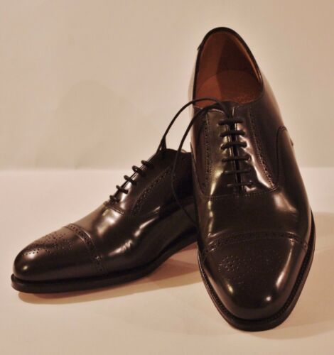 440 Goodyear Leather Uomo Grenson Welted 42 Uk £ Oxfords Brogue Eu Rrp 8 Black RSqxntxO