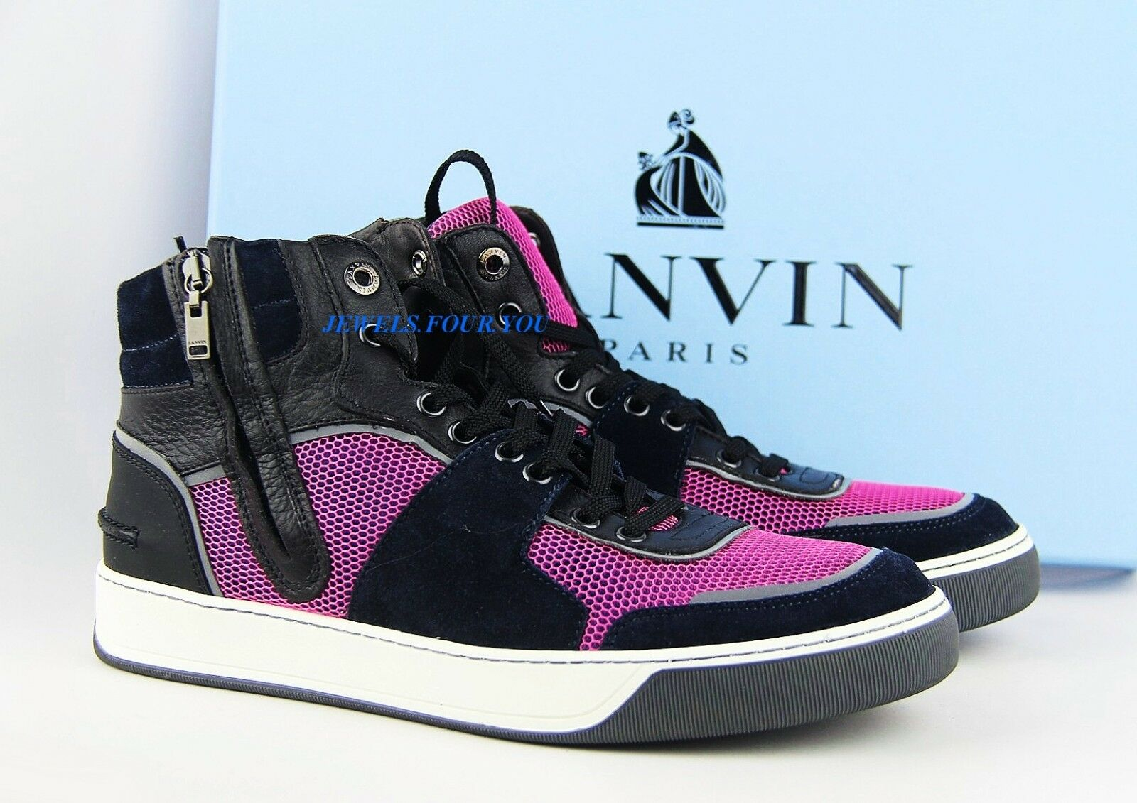 LANVIN nero blu blu blu rosa LEATHER SUEDE RUBBER SOLE scarpe ZIPPER scarpe da ginnastica ITALY  5 47ee6a