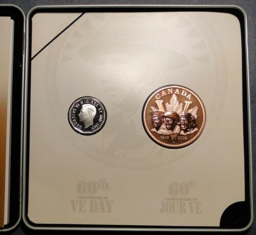 2005 VE 60 anniversary silver 5 cent coin medal set BU mint sealed