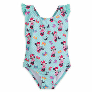 Girls 1-Piece Swimsuit Disney Minnie Mouse Striped Pink White 3 to 8 Years
