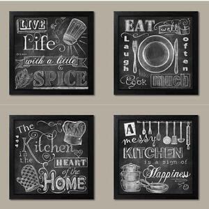 Image Is Loading NEW Set Of 4 Black Framed Chalk Kitchen